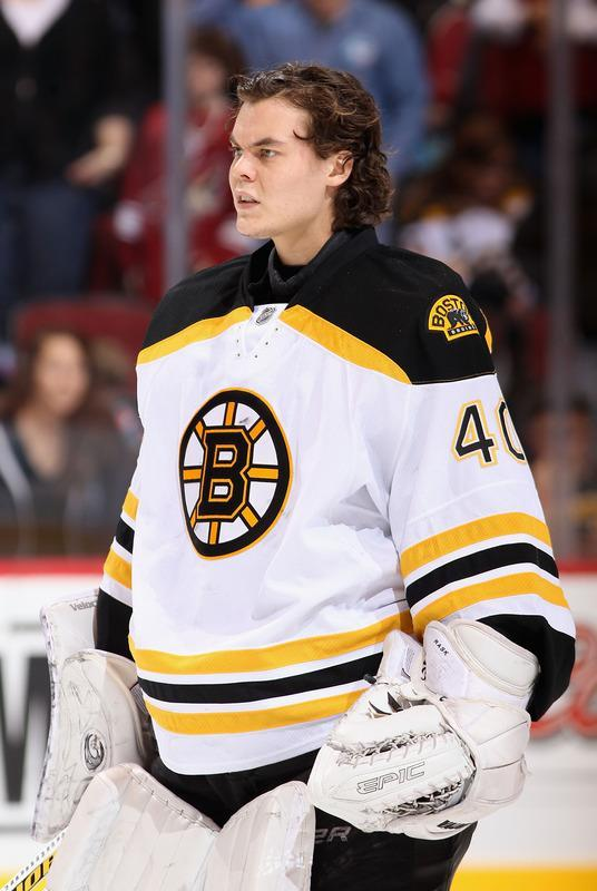 GLENDALE, AZ - DECEMBER 28: Goaltender Tuukka Rask #40 of the Boston Bruins stands attended for the National Anthem before the NHL game against the Phoenix Coyotes at Jobing.com Arena on December 28, 2011 in Glendale, Arizona. (Photo by Christian Petersen/Getty Images)