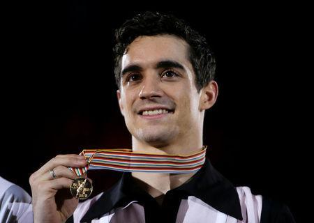 FILE PHOTO: Figure Skating - ISU European Championships 2017 - Men's Victory Ceremony - Ostrava, Czech Republic, 28/1/17. Gold medallist Javier Fernandez of Spain attends the ceremony. REUTERS/David W Cerny/File Photo
