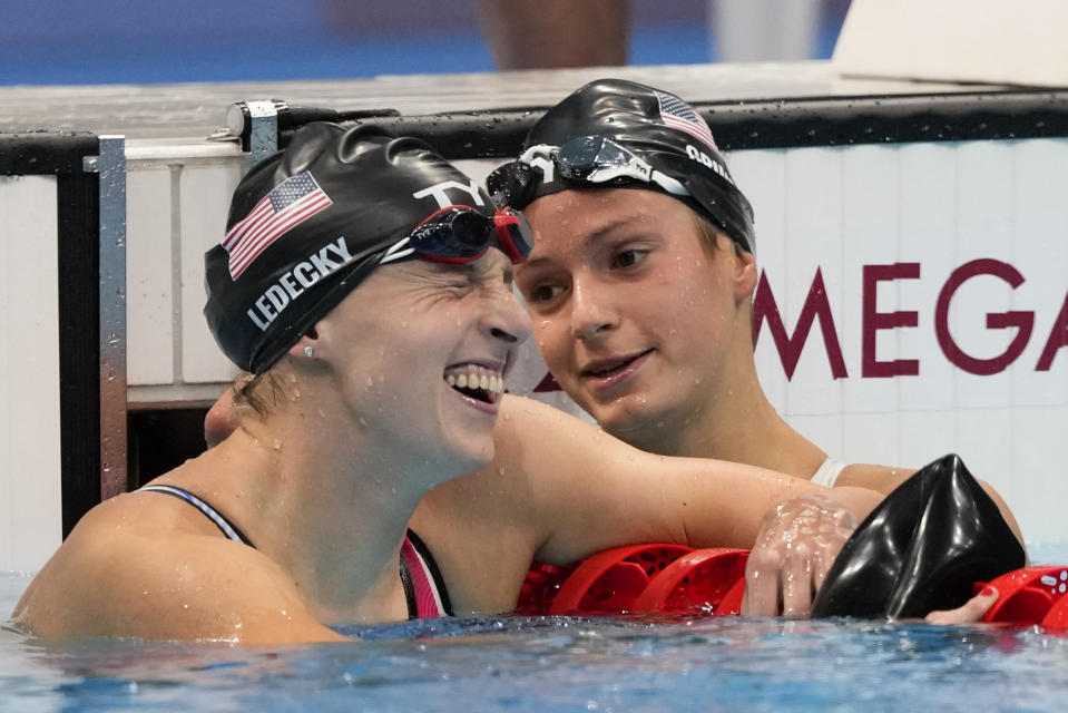 Kathleen Ledecky, of United States, celebrates after winning the gold medal in the women's 800-meter freestyle final at the 2020 Summer Olympics, Saturday, July 31, 2021, in Tokyo, Japan. (AP Photo/Jae C. Hong)