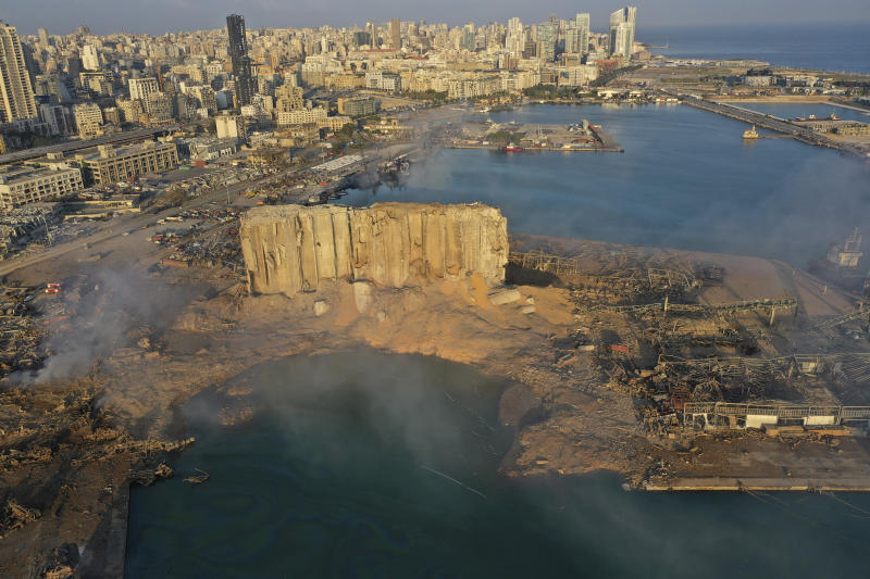A drone picture shows the scene of an explosion that hit the seaport of Beirut, Lebanon on 5 August, 2020. (PHOTO: AP)