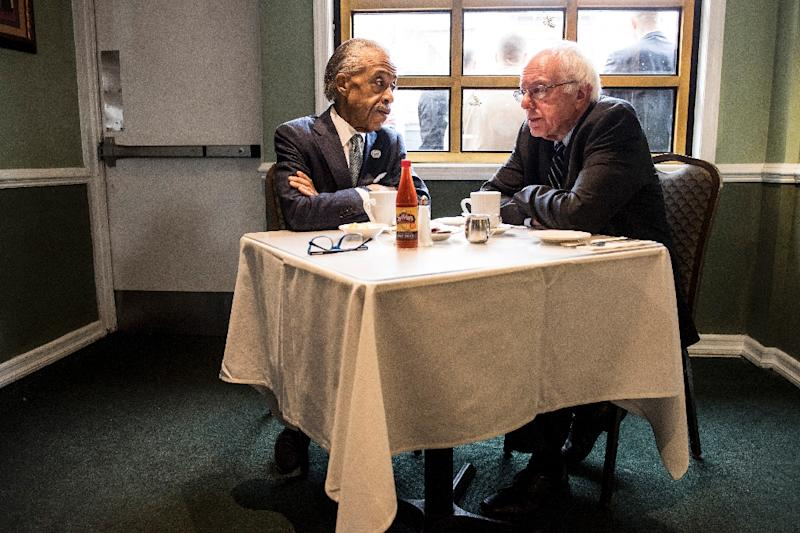 Democratic presidential candidate Senator Bernie Sanders meets with Reverend Al Sharpton at Sylvia's Restaurant on February 10, 2016 in New York City