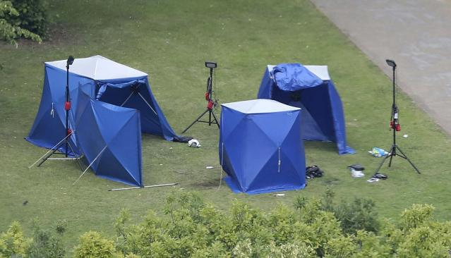 An aerial view showing police tents at the scene on Sunday. (AP)