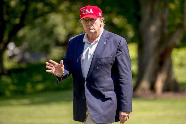 PHOTO: President Donald Trump arrives to the South Lawn of the White House in Washington, June 23, 2019, after traveling from Trump National Golf Club in Sterling, Va. (Andrew Harnik/AP)