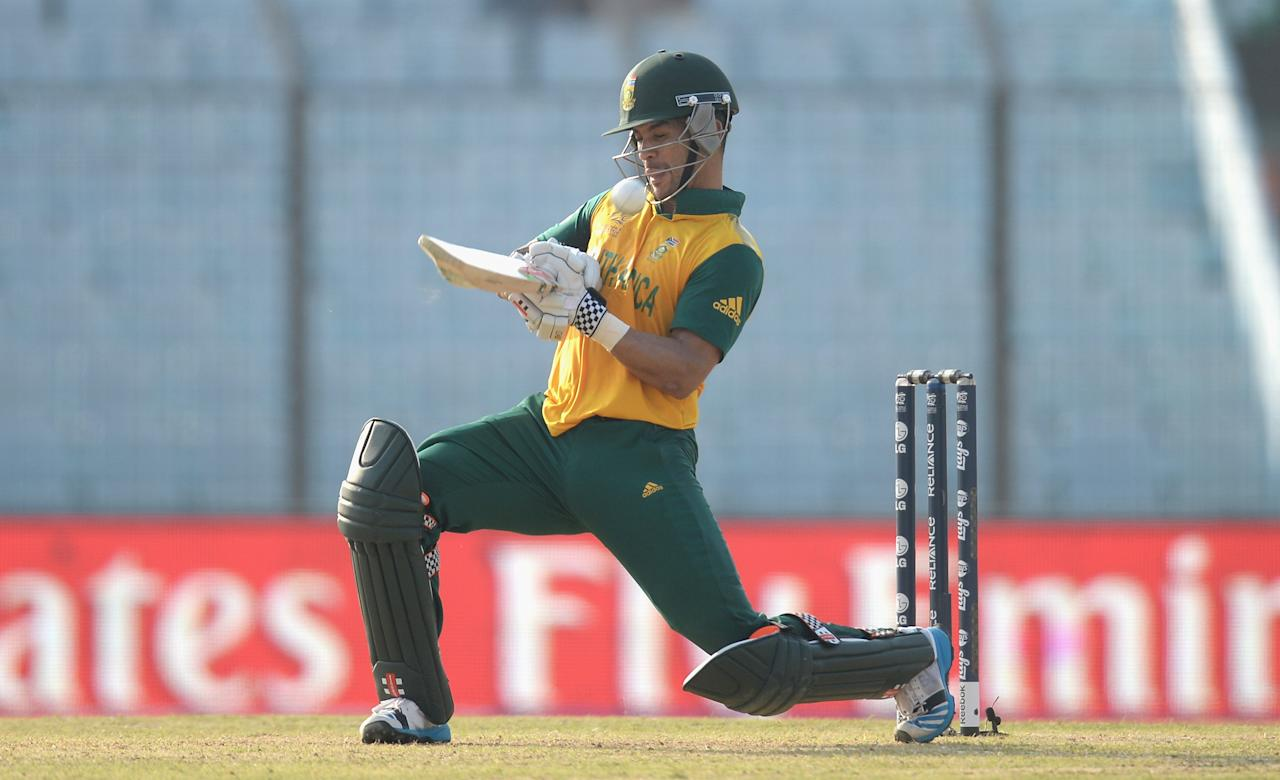 CHITTAGONG, BANGLADESH - MARCH 24:  JP Duminy of South Africa plays a ramp shot during the ICC World Twenty20 Bangladesh 2014 Group 1 match between New Zealand and South Africa at Zahur Ahmed Chowdhury Stadium on March 24, 2014 in Chittagong, Bangladesh.  (Photo by Gareth Copley/Getty Images)