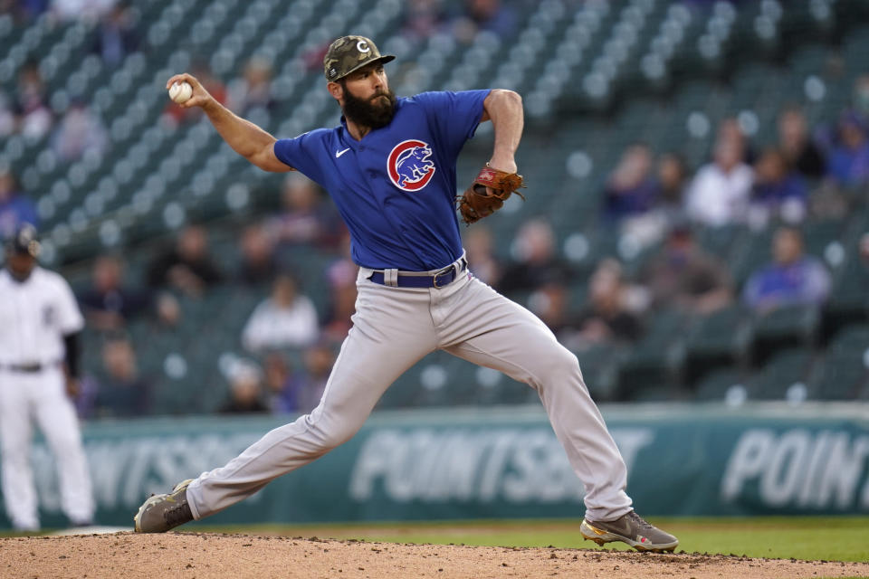 Chicago Cubs pitcher Jake Arrieta throws against the Detroit Tigers in the fourth inning of a baseball game in Detroit, Friday, May 14, 2021. (AP Photo/Paul Sancya)