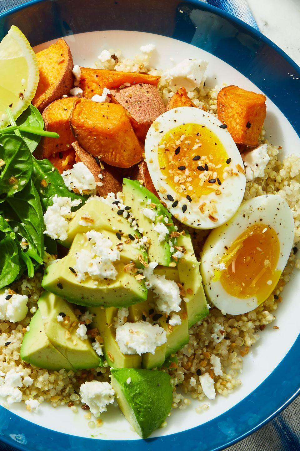 """<p>What's a breakfast bowl without avocado? </p><p>Get the recipe from <a href=""""https://www.delish.com/cooking/recipe-ideas/a25621755/avocado-breakfast-bowls-recipe/"""" rel=""""nofollow noopener"""" target=""""_blank"""" data-ylk=""""slk:Delish"""" class=""""link rapid-noclick-resp"""">Delish</a>.</p>"""