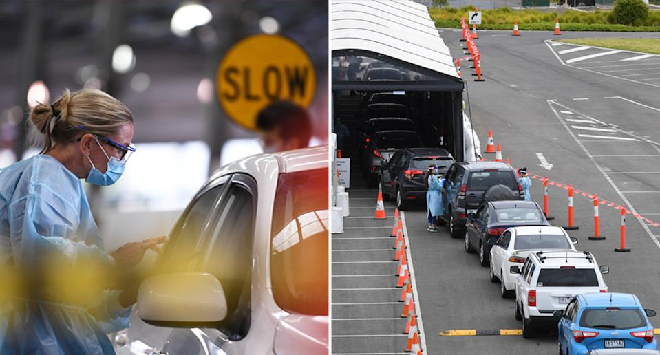 Pictured left is a Melbourne health worker and on the right is a line of cars at a Dandenong coronavirus testing clinic.