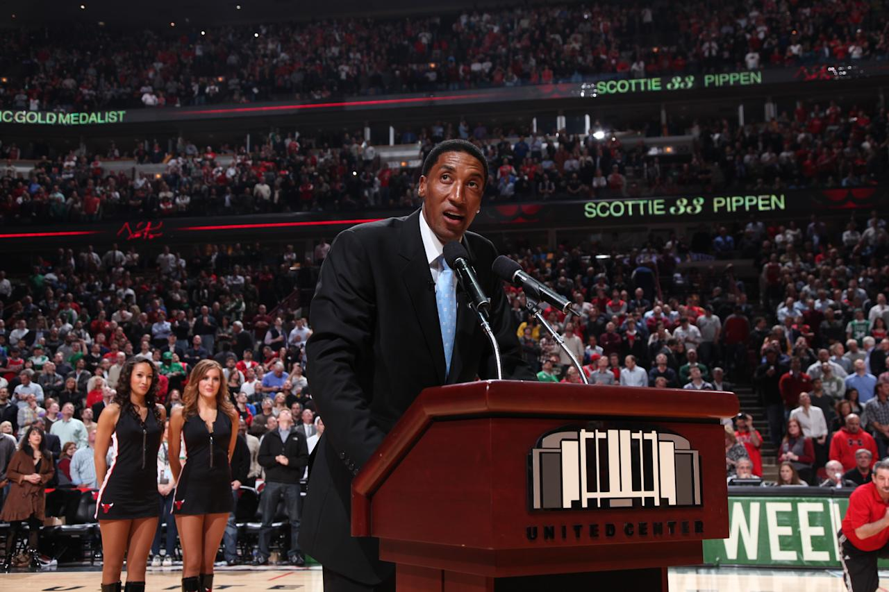 Scottie Pippen earned $120 million during his career, which included six championships with the Chicago Bulls and fellow team member Michael Jordan. But he lost most of his earnings—including $27 million on bad investments and $4.3 million on a Gulfstream jet that was grounded months after its purchase. He sued his attorneys for failing to monitor the jet purchase, won the lawsuit and was awarded a quarter of the reward sought. Photo: Scottie Pippen addresses the fans after the unveiling of a bronze bust in his honor during the game between the Chicago Bulls and the Boston Celtics on April 7, 2011 at the United Center in Chicago.