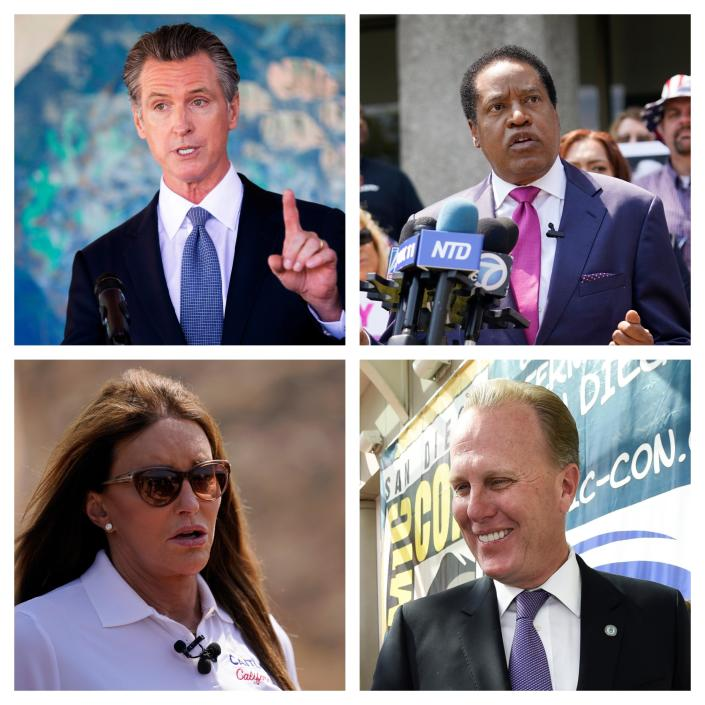 California Governor Gavin Newsom and challengers Larry Elder, Caitlyn Jenner and Kevin Faulconer. / Credit: AP