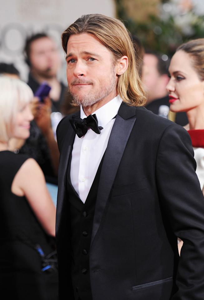 WORST: Brad Pitt arrives at the 69th Annual Golden Globe Awards in Beverly Hills, California, on January 15.