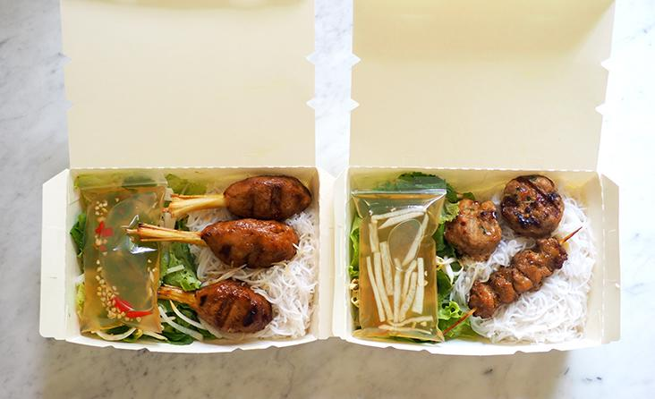The Hanoi-style 'bun cha' and 'nem lui' with noodles and vegetables make a pretty substantial meal for light eaters