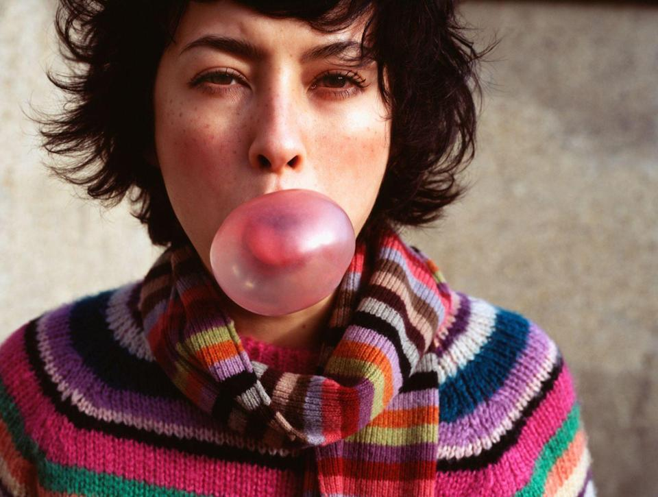"""<p>As weird as it sounds, chewing some gum might increase your energy. A series of <a href=""""https://www.hindawi.com/journals/bmri/2015/654806/"""" rel=""""nofollow noopener"""" target=""""_blank"""" data-ylk=""""slk:studies"""" class=""""link rapid-noclick-resp"""">studies</a> examined how chewing gum affects a person's mood, and discovered that it might enhance alertness and sustained attention. But don't just start chewing like a madwoman: another <a href=""""https://www.eurekalert.org/pub_releases/2009-10/epr-sfc102009.php"""" rel=""""nofollow noopener"""" target=""""_blank"""" data-ylk=""""slk:study"""" class=""""link rapid-noclick-resp"""">study</a> found that participants who chewed gum at a relaxed and natural pace after eating increased their energy expenditure. Hey, it's worth a try—at the very least, your breath will smell great! </p><p>Researchers in Wales set out to test the theory that chewing gum can <a href=""""http://www.ncbi.nlm.nih.gov/pubmed/20132649"""" rel=""""nofollow noopener"""" target=""""_blank"""" data-ylk=""""slk:improve both mood and cognitive function"""" class=""""link rapid-noclick-resp"""">improve both mood and cognitive function</a> by subjecting 133 volunteers to stress tests, monitoring their heart rates, and measuring cortisol in their saliva. Subjects who chewed gum during the study—both fruit and mint gum were used, though the flavors weren't put in a head-to-head test—were more alert and reported more positive moods than subjects who didn't have gum. Chew on <em>that.</em></p>"""