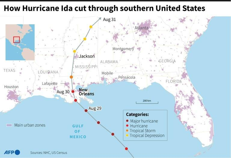How Hurricane Ida cut through the southern United States (AFP/Sophie RAMIS)