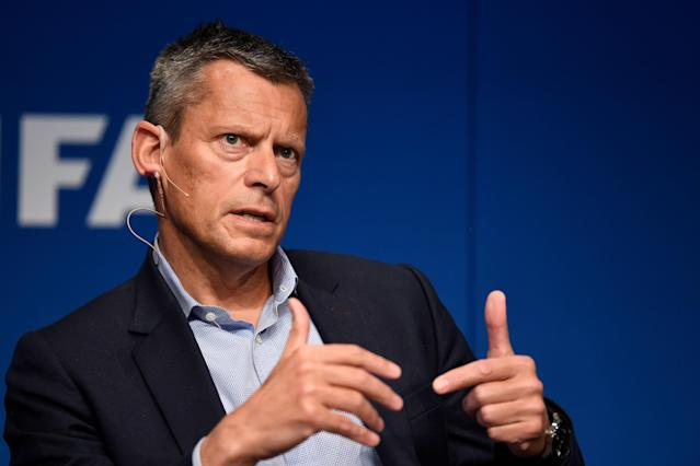 Martin Glenn, the English FA's CEO, speaks at FIFA's annual Conference for Equality and Inclusion in 2017. (Getty)