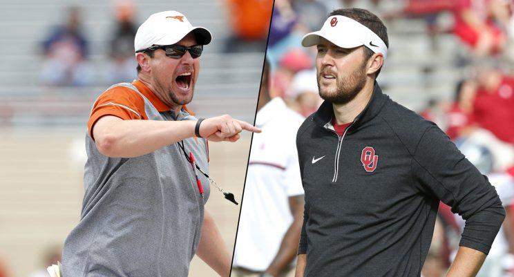 Who will have the better first year as head coach: Texas' Tom Herman or Oklahoma's Lincoln Riley? (Getty)