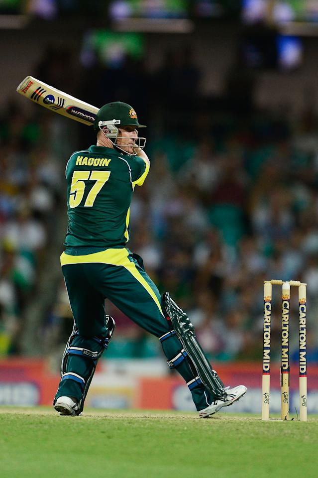 SYDNEY, AUSTRALIA - JANUARY 19: Brad Haddin of Australia batts during game three of the One Day International Series between Australia and England at Sydney Cricket Ground on January 19, 2014 in Sydney, Australia.  (Photo by Brett Hemmings/Getty Images)