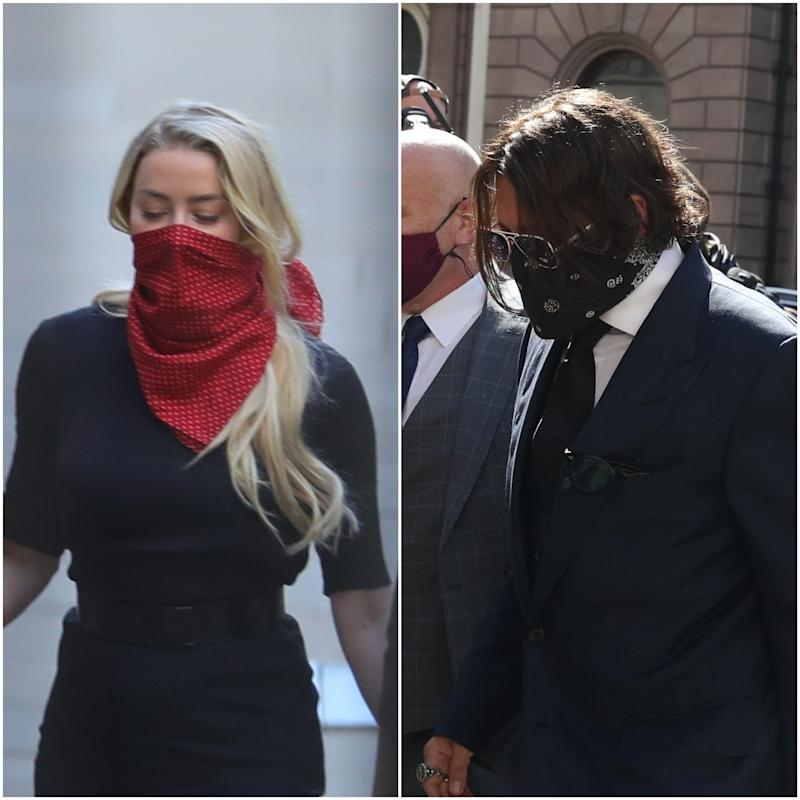 Amber Heard and Johnny Depp outside court