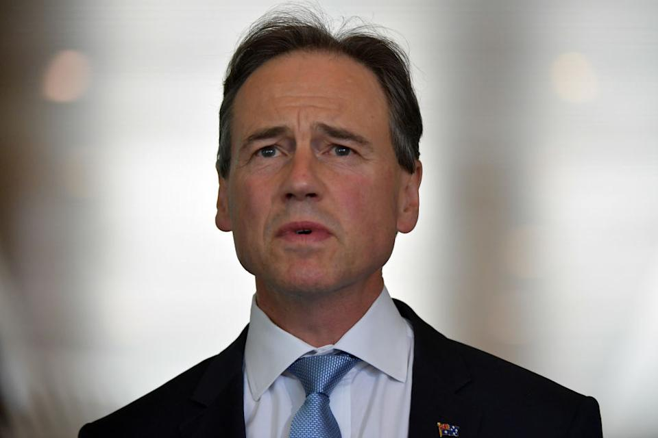 Minister for Health Greg Hunt addresses media during a doorstop in the Mural Hall at Parliament House in Canberra, Australia.
