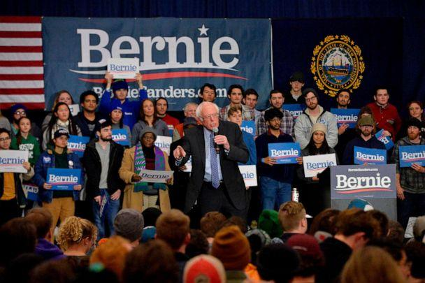 PHOTO: Presidential candidate Sen. Bernie Sanders speaks at a rally at Keene State College in Keene, N.H., on Feb. 9, 2020. (Joseph Prezioso/AFP via Getty Images)