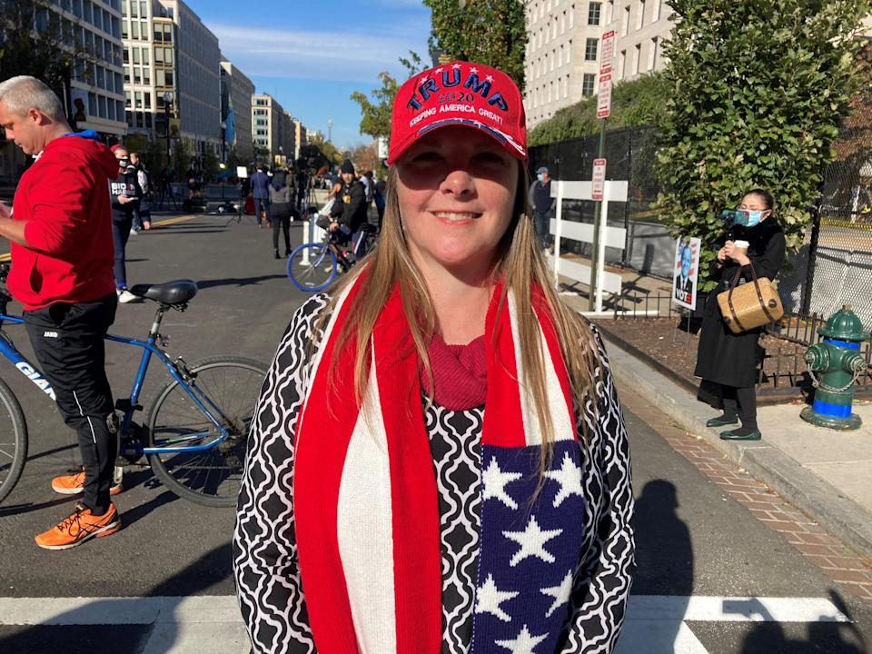 Donald Trump supporter Debbie Boehm travelled to Washington DC from Dallas for the election (PA)