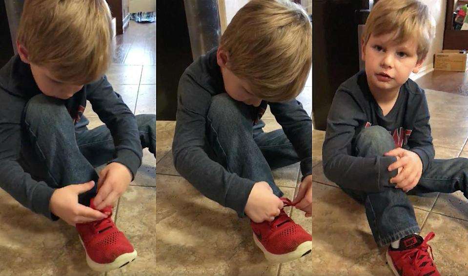 Some are calling Colton a 'genius' for this shoe-tying hack. (Photo screenshot: Facebook/Ashley Lillard)