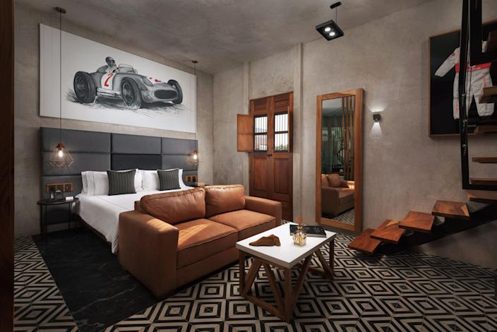 Inside one of the race car themed suites of Diez Diez.
