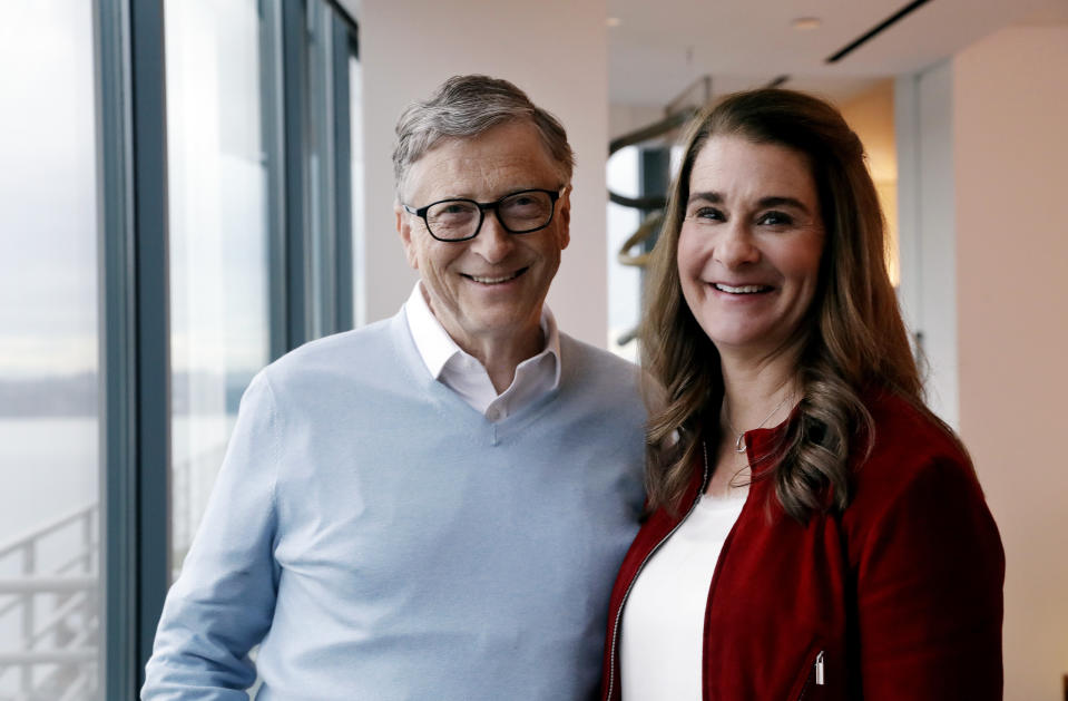In this Feb. 1, 2019 photo, Bill and Melinda Gates pose for a photo in Kirkland, Wash.  (AP Photo/Elaine Thompson)