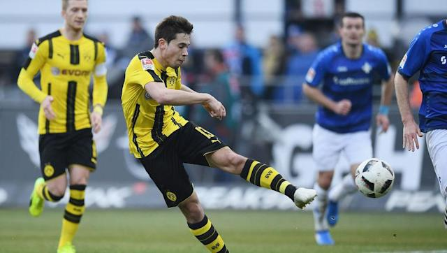 <p>Dortmund do transfer dealings well. Very well in fact.</p> <br><p>The French-born Portugal star joined Thomas Tuchel's yellow army for around £10m in the summer of 2016.</p> <br><p>In 16 Bundesliga appearances, the flying left back has scored four and registered five assists.</p>