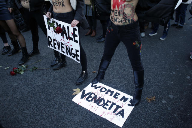 <p>Femen activists attend a demonstration for the International Day for the Elimination of Violence against Women, in Paris, Saturday, Nov. 25, 2017. (Photo: Thibault Camus/AP) </p>
