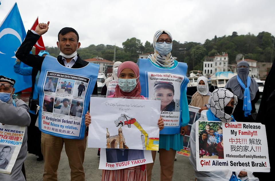 File image: Members of Uighur community living in Turkey stage a protest outside the Chinese consulate in Istanbul, Wednesday, 2 June, 2021 (AP)