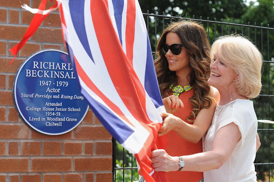 Kate Beckinsale, with her mother Judy Lo during a visit to College House Junior School to unveil a plaque in memory of her late father, Richard Beckinsale, who was a pupil at the school.