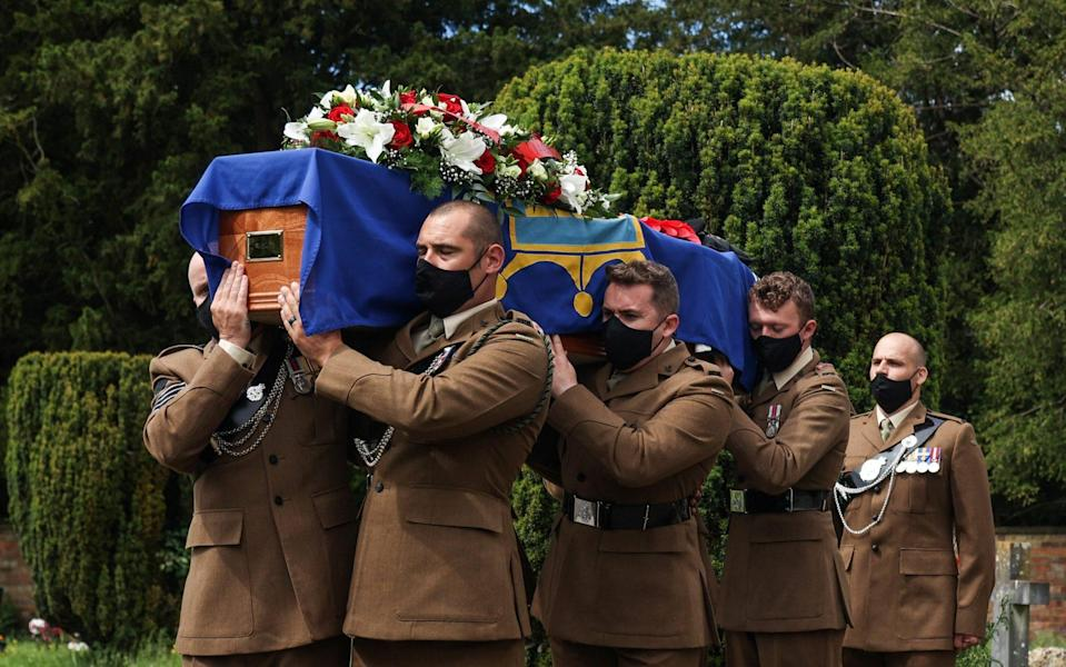 The funeral of John Cornwell, who was the the youngest survivor of the D-Day Normandy landings takes place at St Mary's Church in Prestbury. Mr Cornwell was carried in by six riflemen from 1 RIFLES in Chepstow -  SWNS
