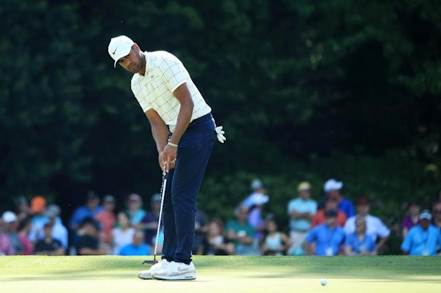 Final group: American Tony Finau on the way to an eight-under par 64 in the third round of the Masters at Augusta National (AFP Photo/Andrew Redington)