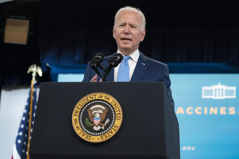 President Joe Biden delivers remarks on the full FDA approval of the Pfizer-BioNTech coronavirus vaccine, in the South Court Auditorium on the White House campus, Monday, Aug. 23, 2021, in Washington. (AP Photo/Evan Vucci)