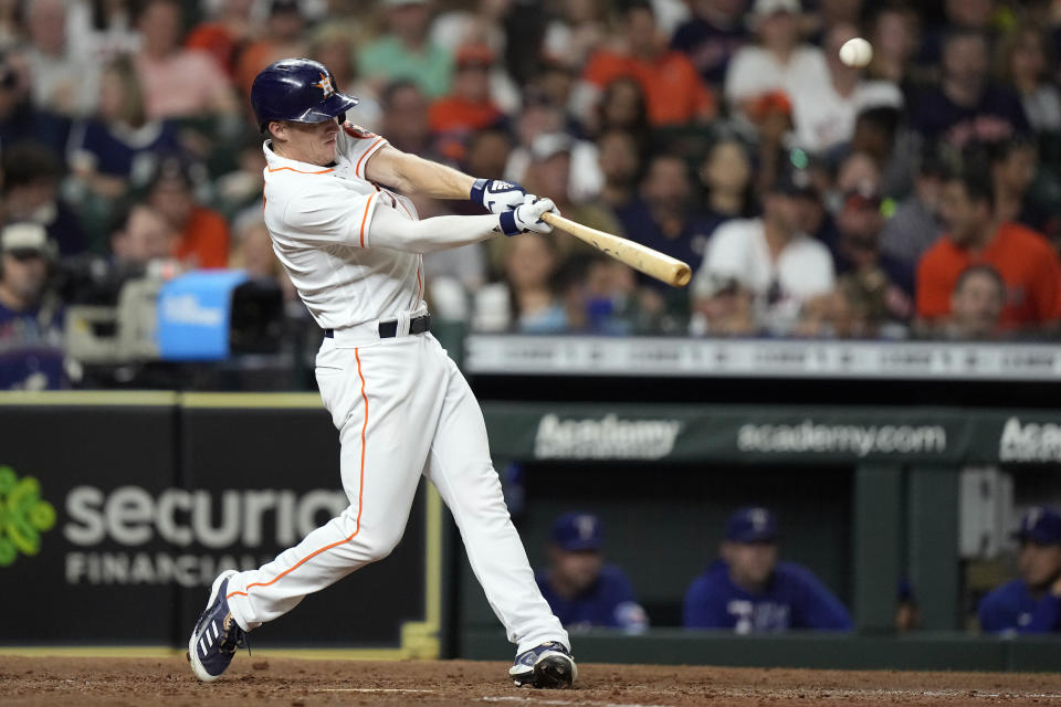 Houston Astros' Myles Straw hits a home run against the Texas Rangers during the fourth inning of a baseball game Wednesday, June 16, 2021, in Houston. (AP Photo/David J. Phillip)