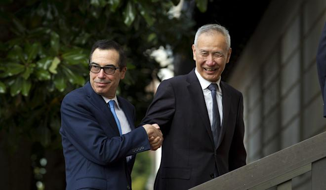 Liu He and Steven Mnuchin held top-level talks in Washington on Thursday. Photo: AP