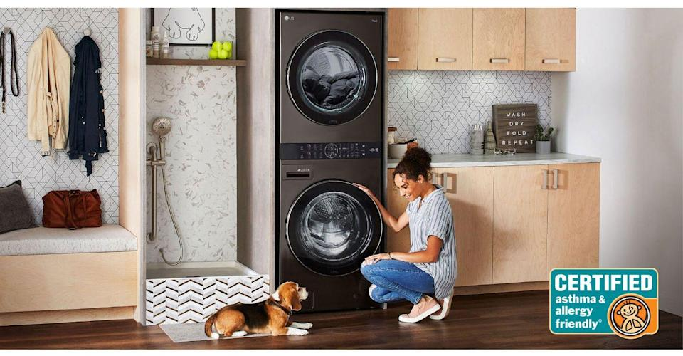 "<p>In theory, stackable washers and dryers exist naturally to maximize space, but often that can decrease access. How tall do you need to be to get to the top control panel—and can your kids really participate in the art of helping with laundry? That's where the <a href=""https://www.lg.com/us/washer-dryer-combos/lg-wkex200hba-washtower"" rel=""nofollow noopener"" target=""_blank"" data-ylk=""slk:LG Washtower"" class=""link rapid-noclick-resp"">LG Washtower</a> comes in. One of their latest innovations, this single tower has a washer and dryer built-in with the controller for both right in the center—no step stool required. What's the ""smart"" part? Sensors inside both drums automatically detect the fabric texture and size, and select the right setting for your load. And with ""Smart Pairing"", the washer will just tell the dryer what the right drying cycle is to complete your laundry--now if only it could move the wash to the dryer. Maybe next year. What's even better is that despite it's space saving capabilities, you can still dry a king-size comforter. To really deck out your <a href=""https://www.housebeautiful.com/room-decorating/a29563491/this-nashville-home-has-laundry-room-inspo-for-days/"" rel=""nofollow noopener"" target=""_blank"" data-ylk=""slk:laundry room"" class=""link rapid-noclick-resp"">laundry room</a> (since you do have so much more room now) add in the <a href=""https://www.lg.com/us/styler-steam-closet"" rel=""nofollow noopener"" target=""_blank"" data-ylk=""slk:LG Styler"" class=""link rapid-noclick-resp"">LG Styler</a> for perfectly steamed and sanitized clothes in just minutes. </p>"