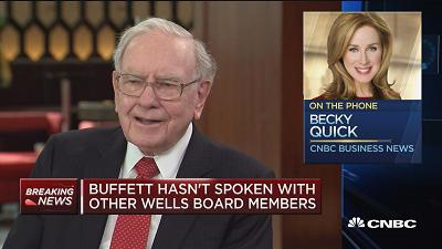 CNBC's Becky Quick reports on billionaire investor Warren Buffett's views towards the Wells Fargo scandal and CEO John Stumpf's testimony on Capitol Hill.