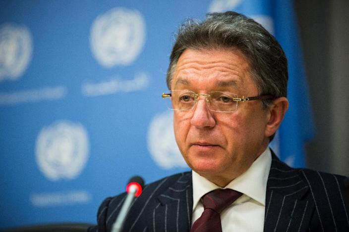 Yuriy Sergeyev, Permanent Representative of Ukraine to the United Nations, speaks at a press conference at the United Nations on January 30, 2015 (AFP Photo/Andrew Burton)