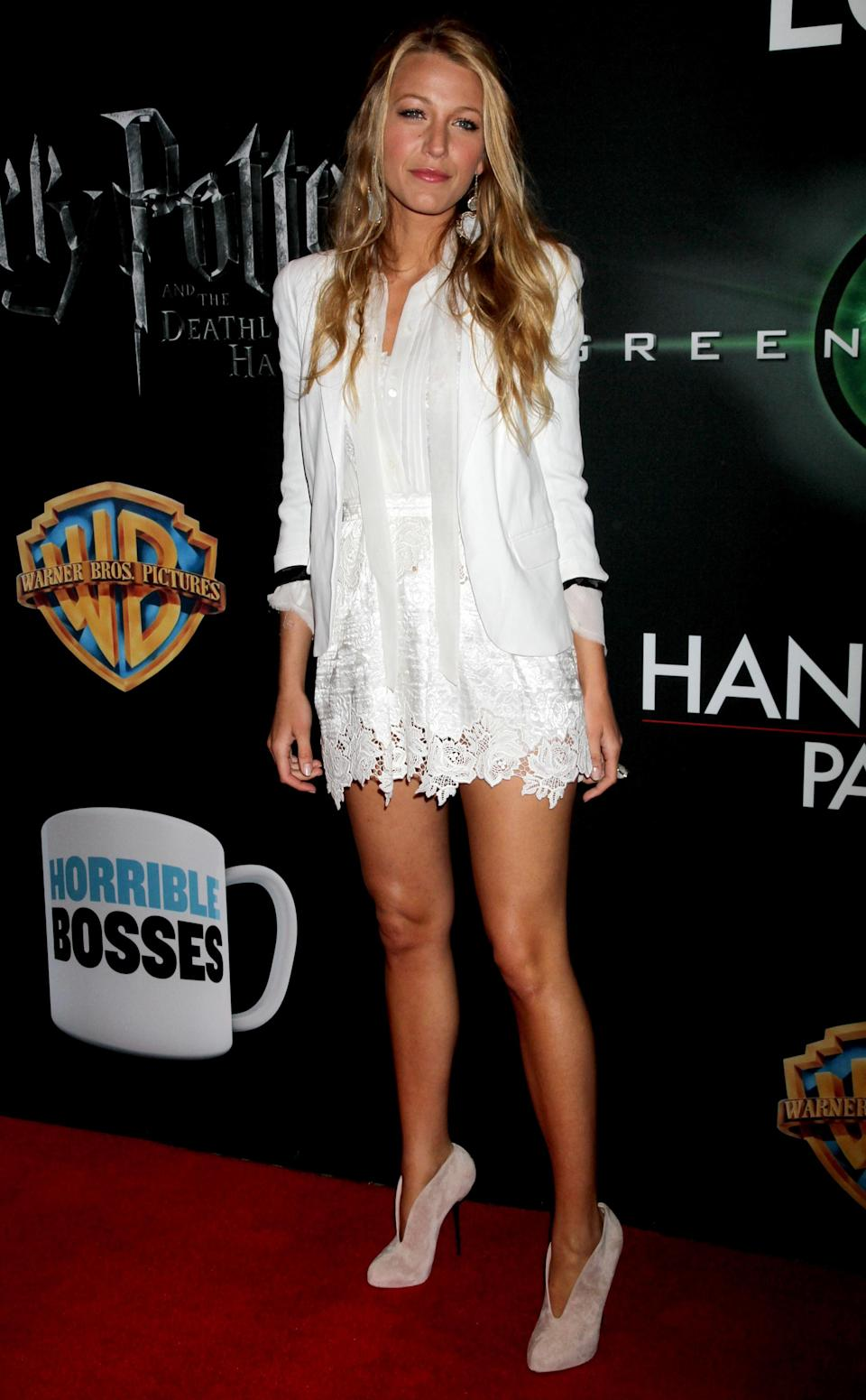 <p>In a delicate white get up, Blake's long blonde hair makes her look almost angelic.<br><i>[Photo: Getty]</i> </p>