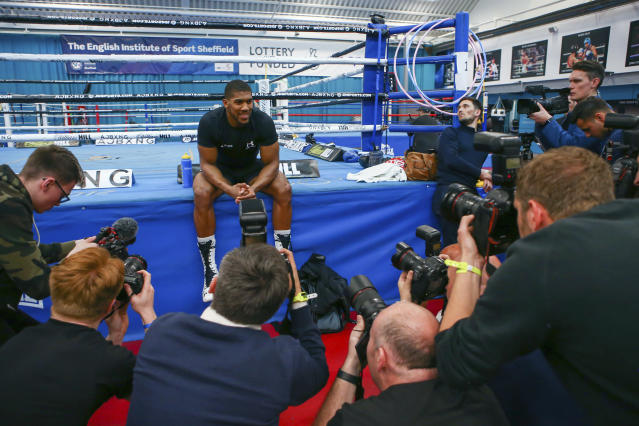 British boxer Anthony Joshua poses for photographers, during a media session at the English institute of Sport, in Sheffield, England, Wednesday May 1, 2019. Andy Ruiz Jr. will look to become Mexicos first heavyweight champion after replacing Jarrell Miller as the opponent for unbeaten WBA, IBF and WBO titleholder Anthony Joshua. (Dave Thompson/PA via AP)