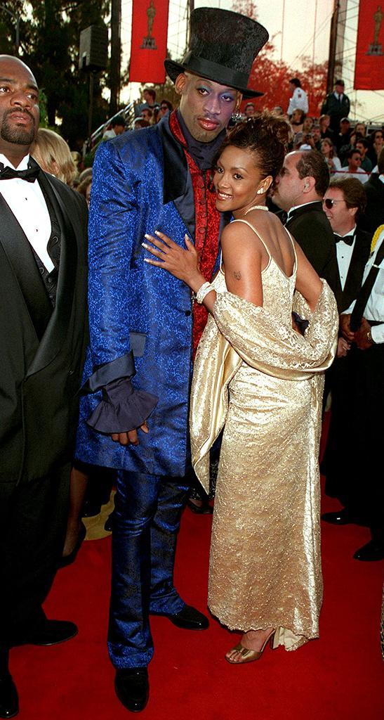 <p>The eccentric basketball star accompanied his then-girlfriend to the show. (Photo by Frank Trapper/Corbis via Getty Images) </p>