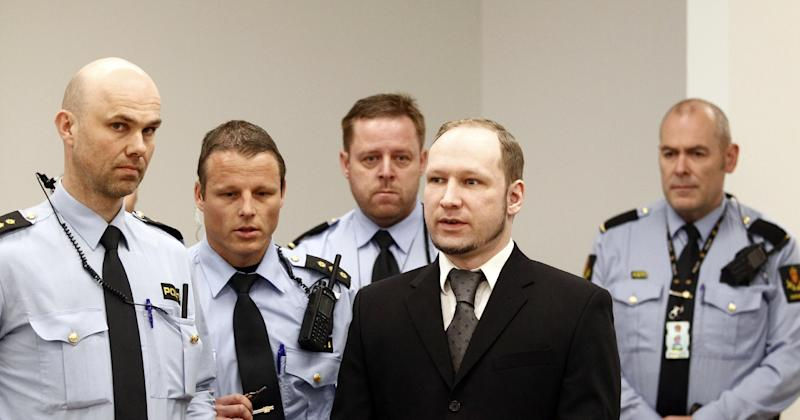 Defendant Anders Behring Breivik in court prior to the opening of day 6 of the trial in Oslo, Monday April 23, 2012. Breivik has admitted setting off a car bomb outside the government headquarters, killing eight, before unleashing a shooting massacre at the governing Labor Party's youth camp on Utoya. (AP Photo/Lise Aserud, POOL)