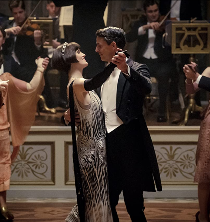 """<p>While <em>Downton Abbey</em> did not disappoint with it's 1920s style jewels, it was the tiaras that made their mark on the big screen. The pieces were sourced by costume designer Anna Robbins from London jeweler <a href=""""https://www.forbes.com/sites/bethbernstein/2019/09/05/a-trio-of-tiaras-are-the-crowning-glory-of-jewels-in-the-film-downton-abbey/?sh=489ef8ed6889"""" rel=""""nofollow noopener"""" target=""""_blank"""" data-ylk=""""slk:Bentley & Skinner"""" class=""""link rapid-noclick-resp"""">Bentley & Skinner</a>, to be historically accurate. </p>"""