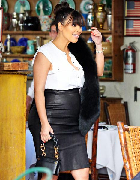 Kim Kardashian Wears Skin-tight Leather Skirt, Fur Stole in Latest Pregnancy Outfit: Picture