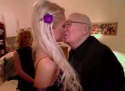 <p>He was this old man and they shared a beautiful open mouth kiss. </p>