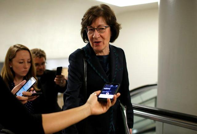 Sen. Susan Collins of Maine speaks to reporters on her way to the Capitol, May 23, 2017. (Photo: Joshua Roberts/Reuters)