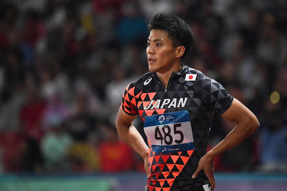 Japan's Ryota Yamagata reacts ater a heat of the men's 100m athletics event during the 2018 Asian Games in Jakarta on August 25, 2018. (Photo by Jewel SAMAD / AFP)        (Photo credit should read JEWEL SAMAD/AFP via Getty Images)