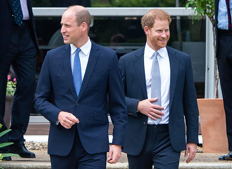 Britain's Prince William, Duke of Cambridge (L) and Britain's Prince Harry, Duke of Sussex arrive for the unveiling of a statue of their mother, Princess Diana at The Sunken Garden in Kensington Palace, London on July 1, 2021, which would have been her 60th birthday. - Princes William and Harry set aside their differences on Thursday to unveil a new statue of their mother, Princess Diana, on what would have been her 60th birthday. (Photo by Dominic Lipinski / POOL / AFP) (Photo by DOMINIC LIPINSKI/POOL/AFP via Getty Images)