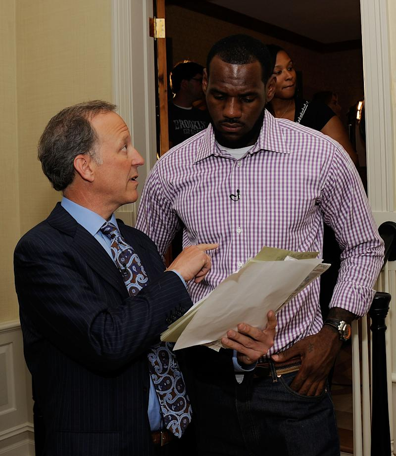 GREENWICH, CT - JULY 08: (EXCLUSIVE COVERAGE) Jim Gray of ESPN speaks with LeBron James at attends the LeBron Jame=s Pre Decision Meet and Greet on July 8, 2010 in Greenwich, Connecticut. Proceeds from tonight's 2.5 million dollar event will be donated to the Boys & Girls Clubs of America.